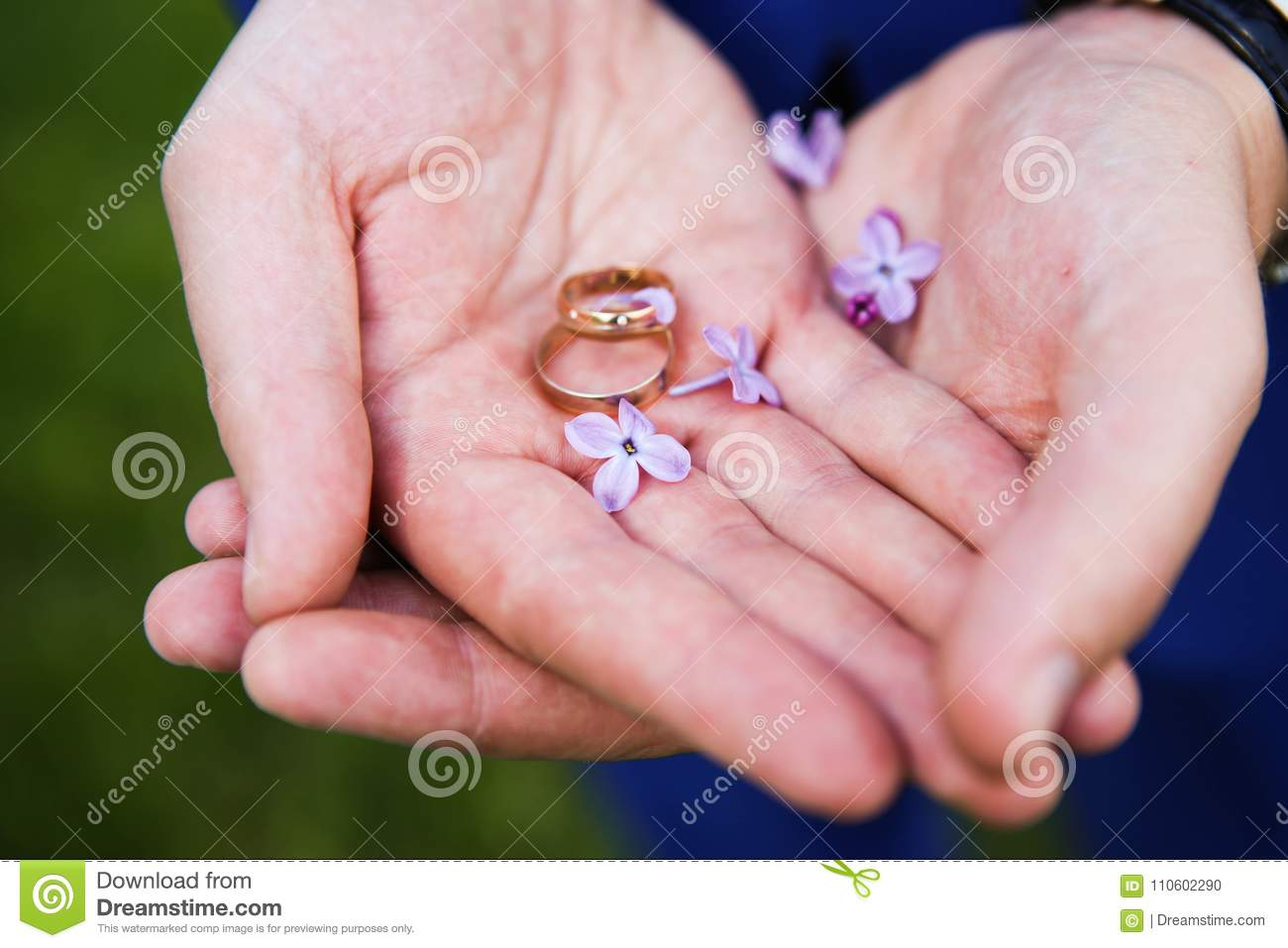 Men`s hands wedding rings stock photo. Image of holding - 110602290