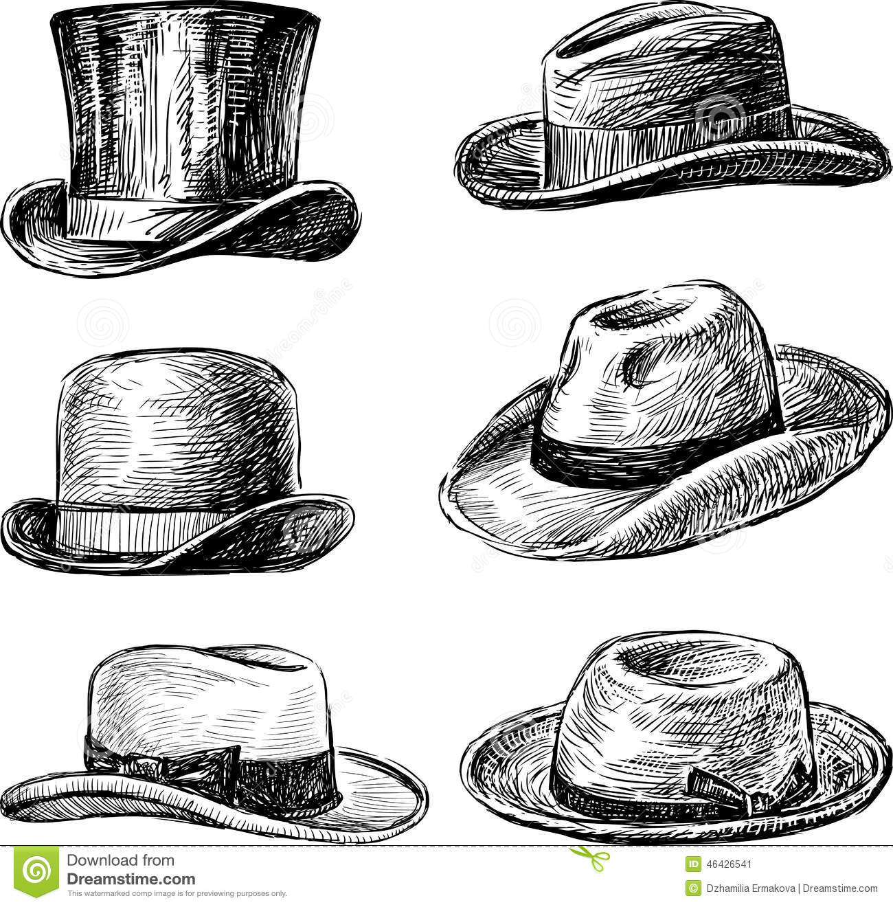 8973a8f9 Men's hats stock vector. Illustration of styled, band - 46426541