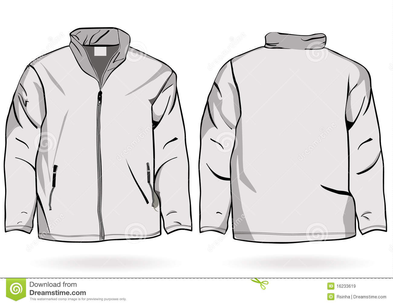 men s jacket or sweatshirt template with zipper stock vector
