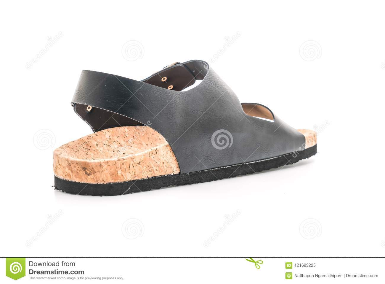 456f1e42e1dc Men s Leather Sandals On White Background Stock Image - Image of ...