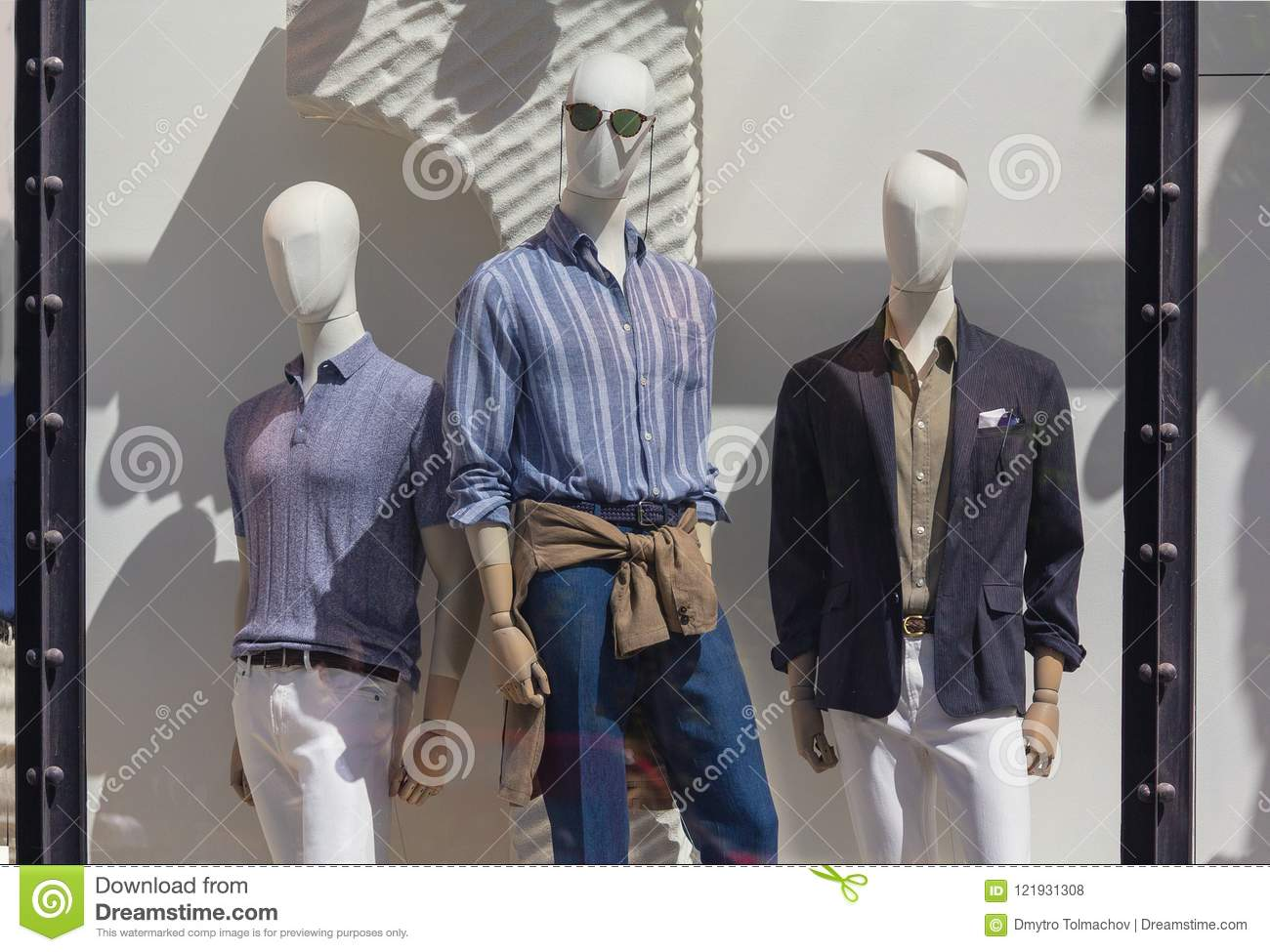 9e22746c2 Men`s mannequins in the window of a luxury store. Sale. More similar stock  images. Mannequins on the shop window fashion style stylish clothes ...