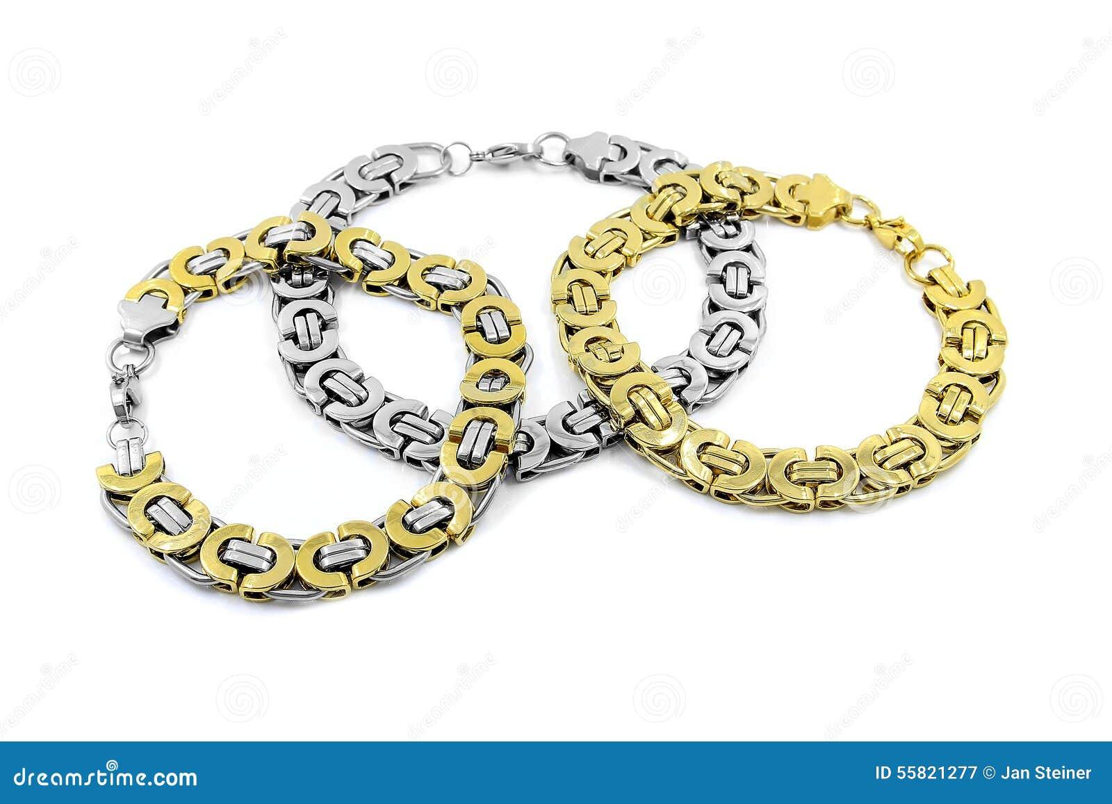 Men's Massive Bracelets, Stainless Steel Stock Photo - Image: 55821277