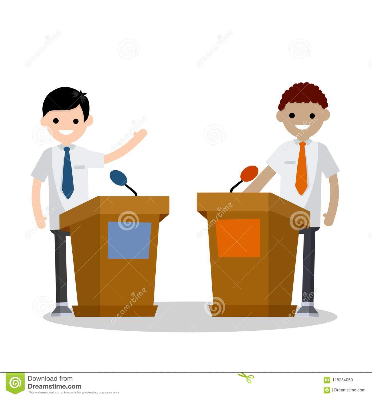 37169fc4c96 Cartoon Flat Illustration - Two Guys In The Stands Discussion. Stock ...