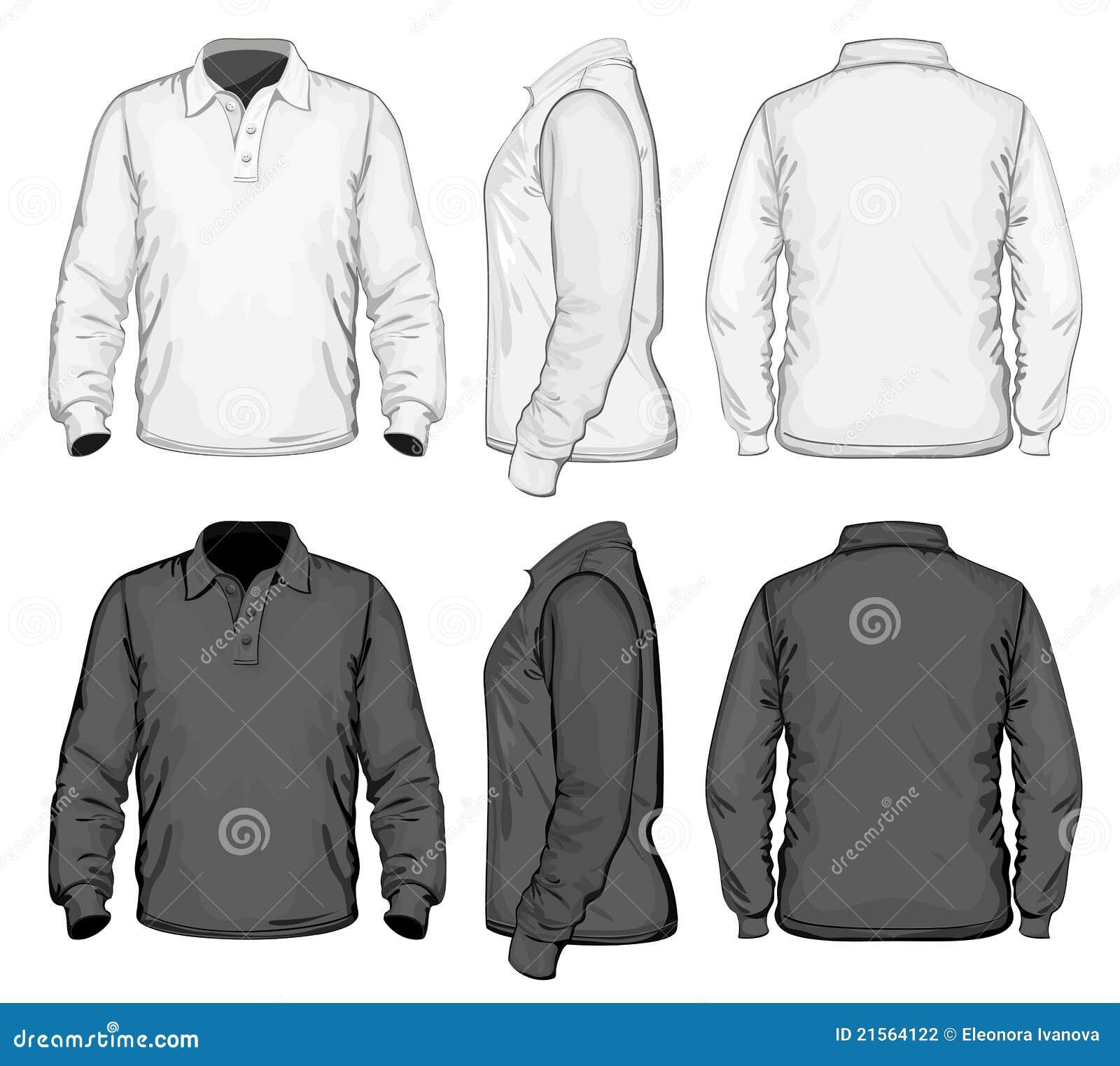 Shirt design on sleeve - Men S Polo Shirt Design Template Long Sleeve Stock Photography