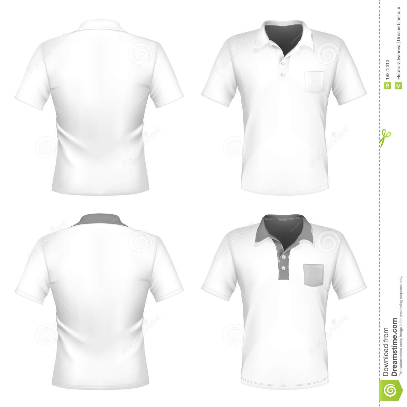 Vector. Men's polo shirt design template with pocket (front and back).