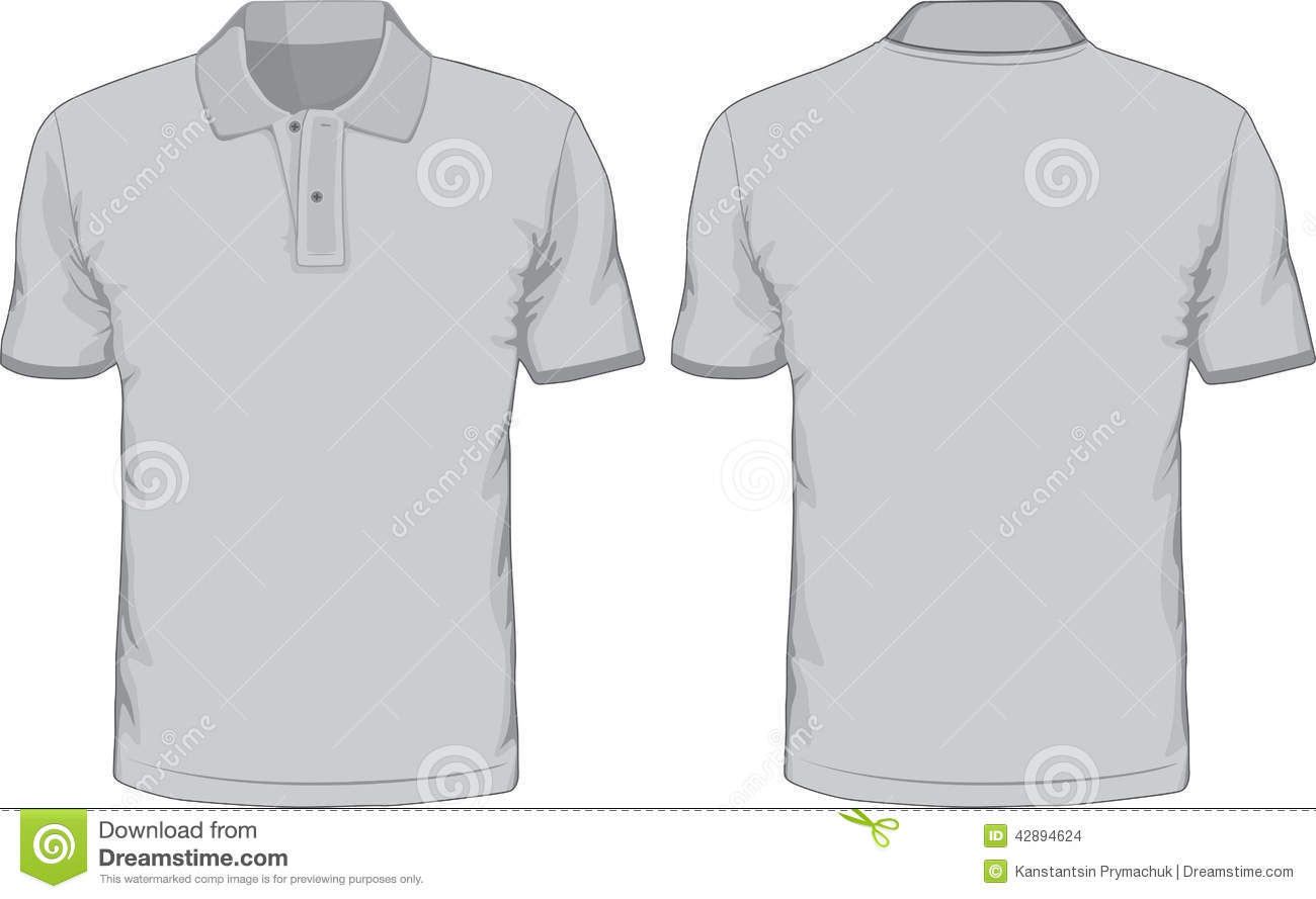 Mens Polo Shirts Template Front And Back Views Stock Vector