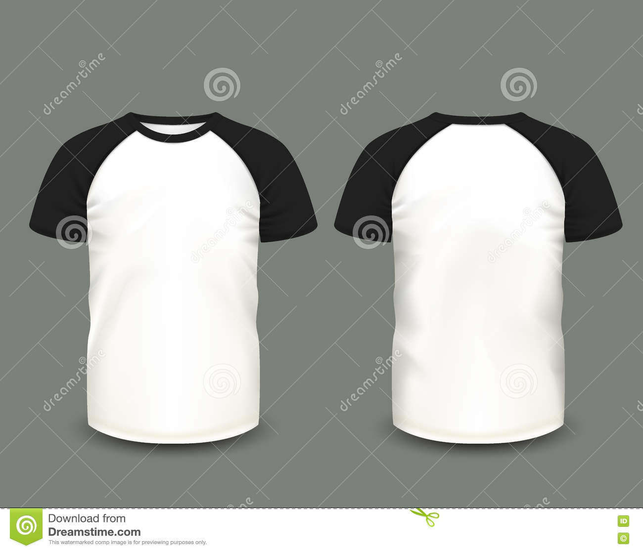 White t shirt front and back template - Men S Raglan T Shirt In Front And Back Views Vector Template Fully Editable