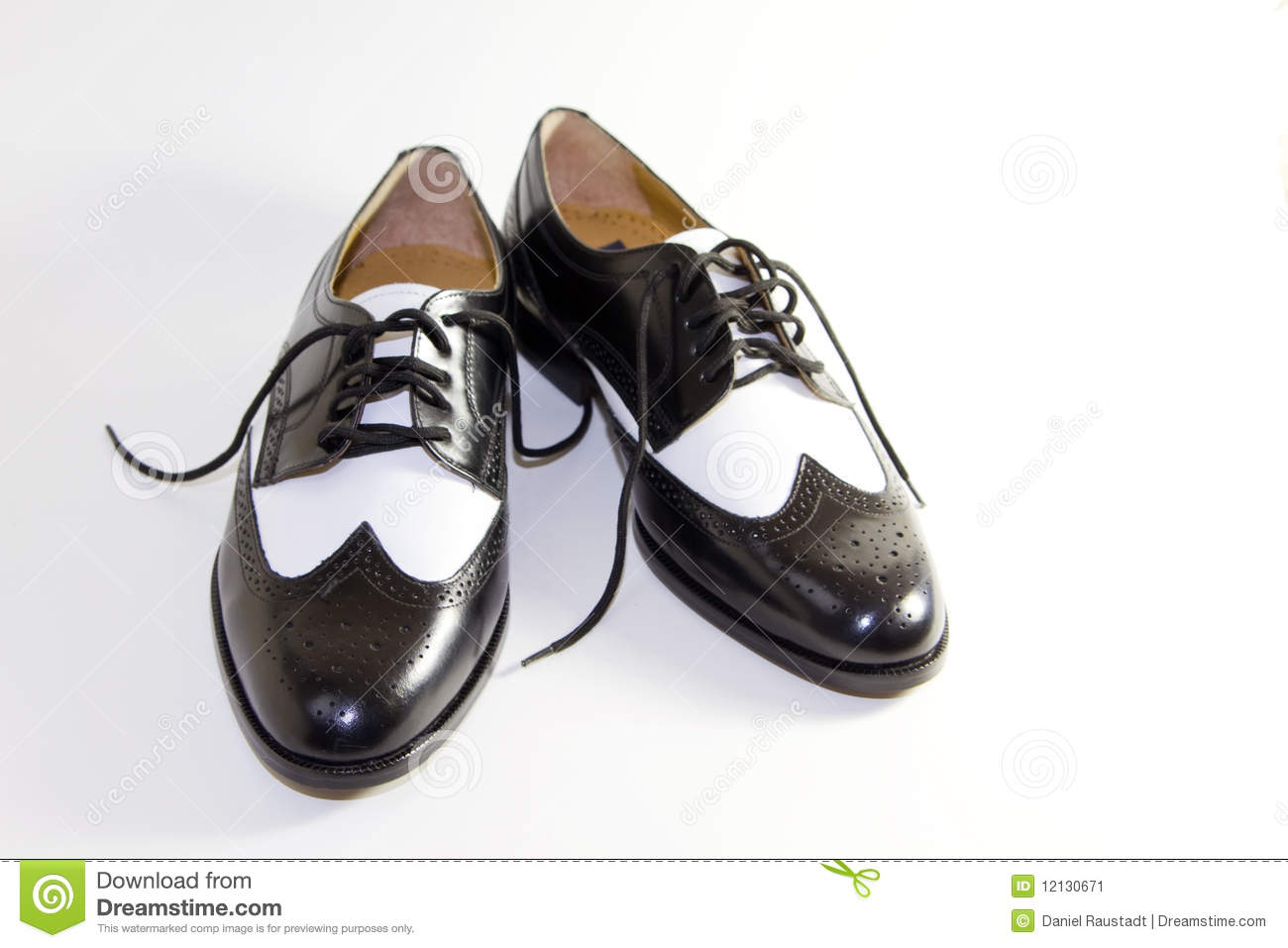 Mens Retro Black and White Leather Dress Shoes