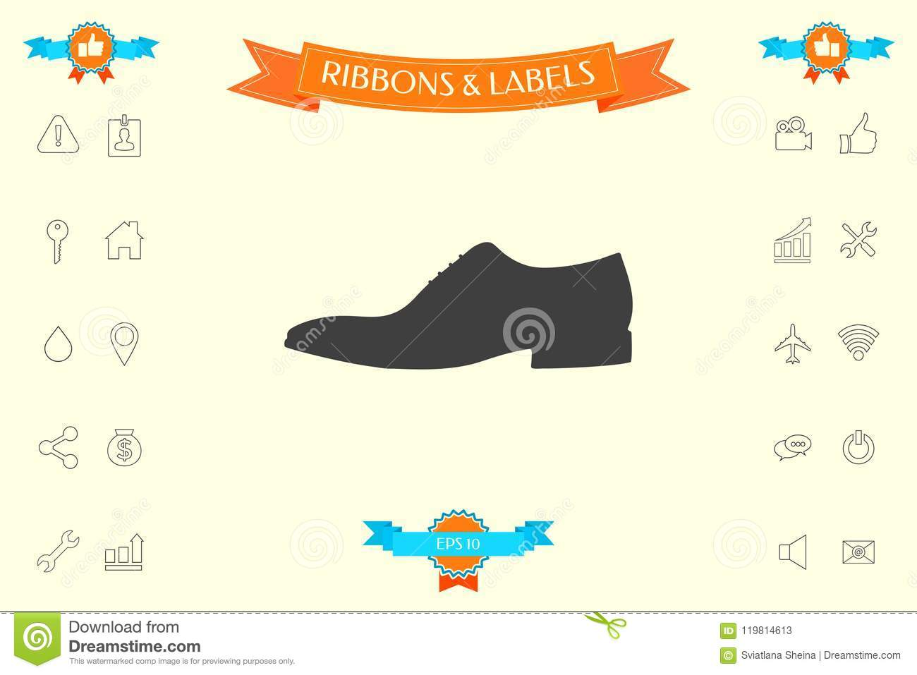 9e9b1da2f8 Men`s shoe icon. Menu item in the web design . Signs and symbols - graphic  elements for your design. More similar stock illustrations