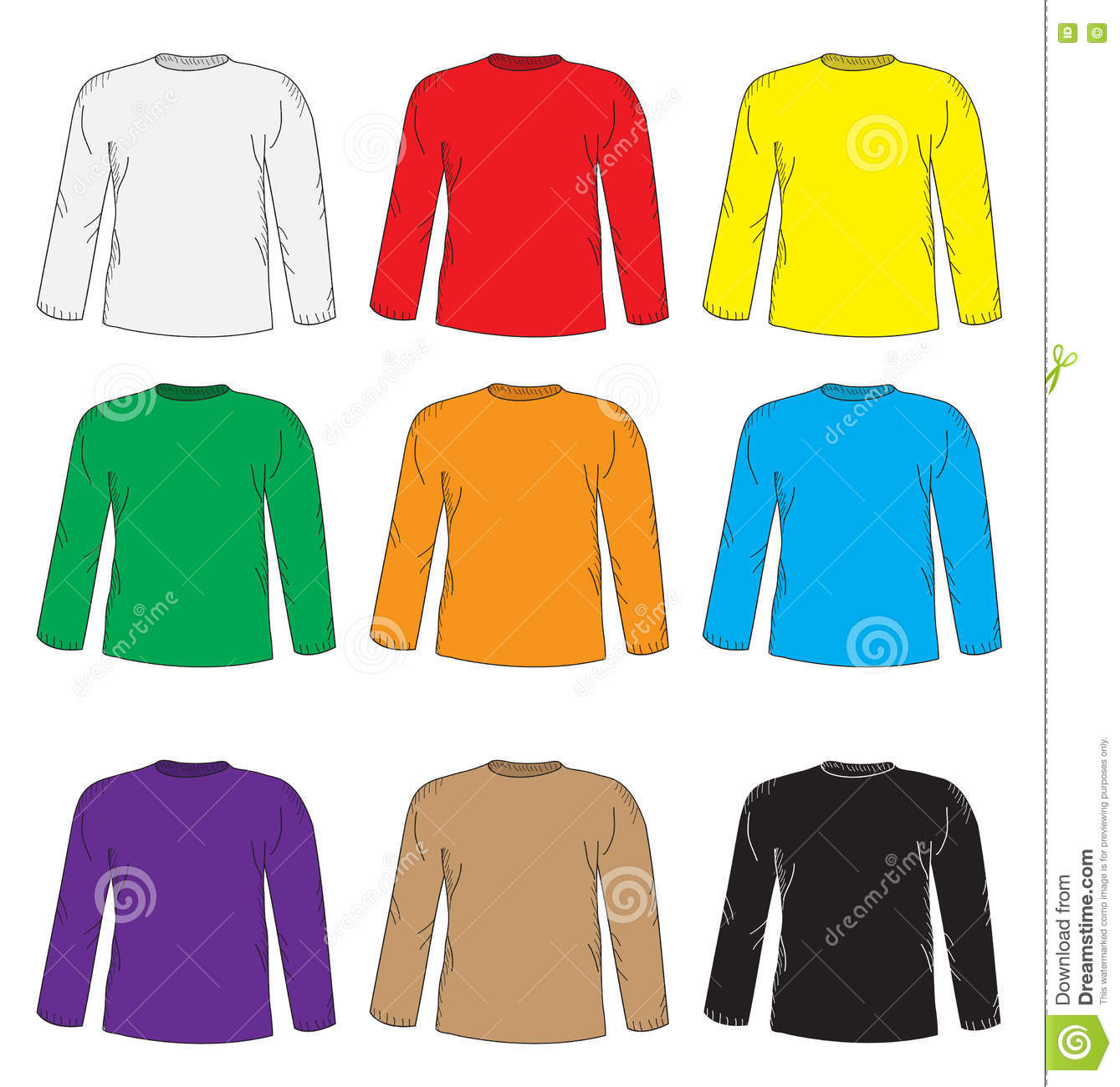 8775d2d3 Men's t shirts design template set. Multi-colored T-shirt with long sleeves.  Hand drawing style. mockup shirts. Vector illustration.