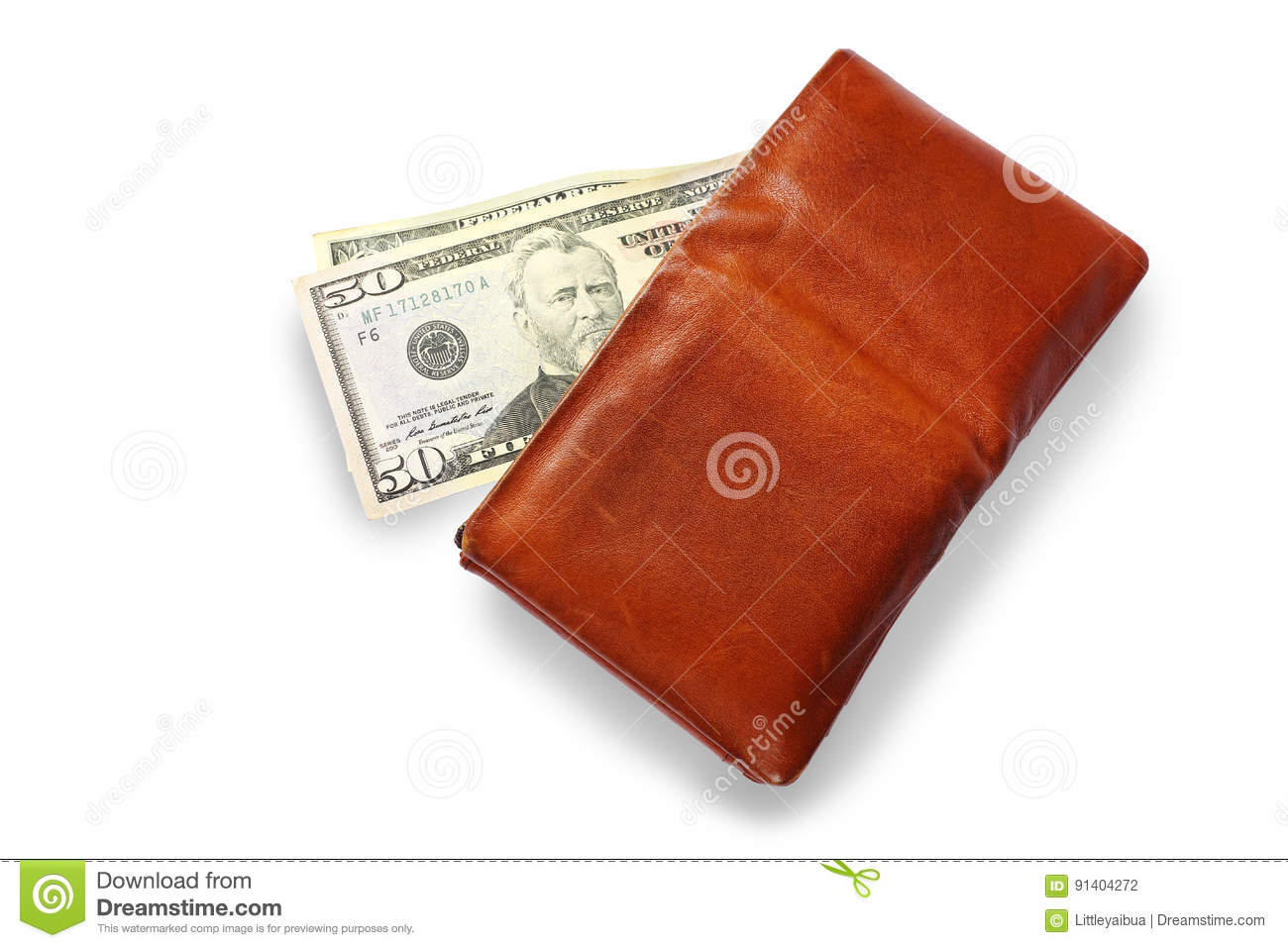 Men`s Wallet With Dollar cash on white background.
