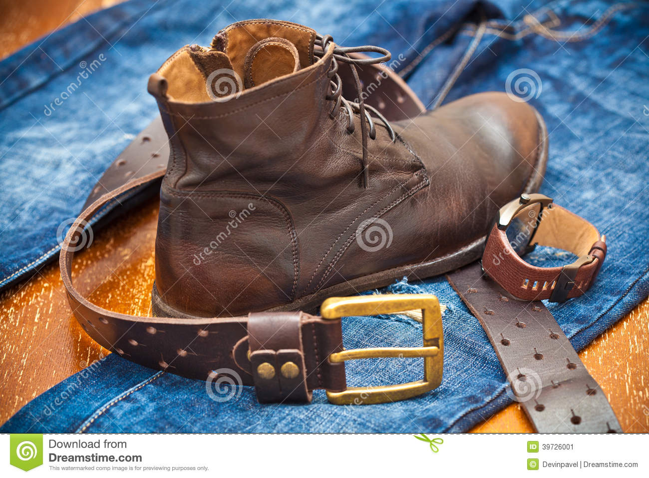 Men 39 S Watches Leather Shoes Jeans Belt Stock Image Image 39726001