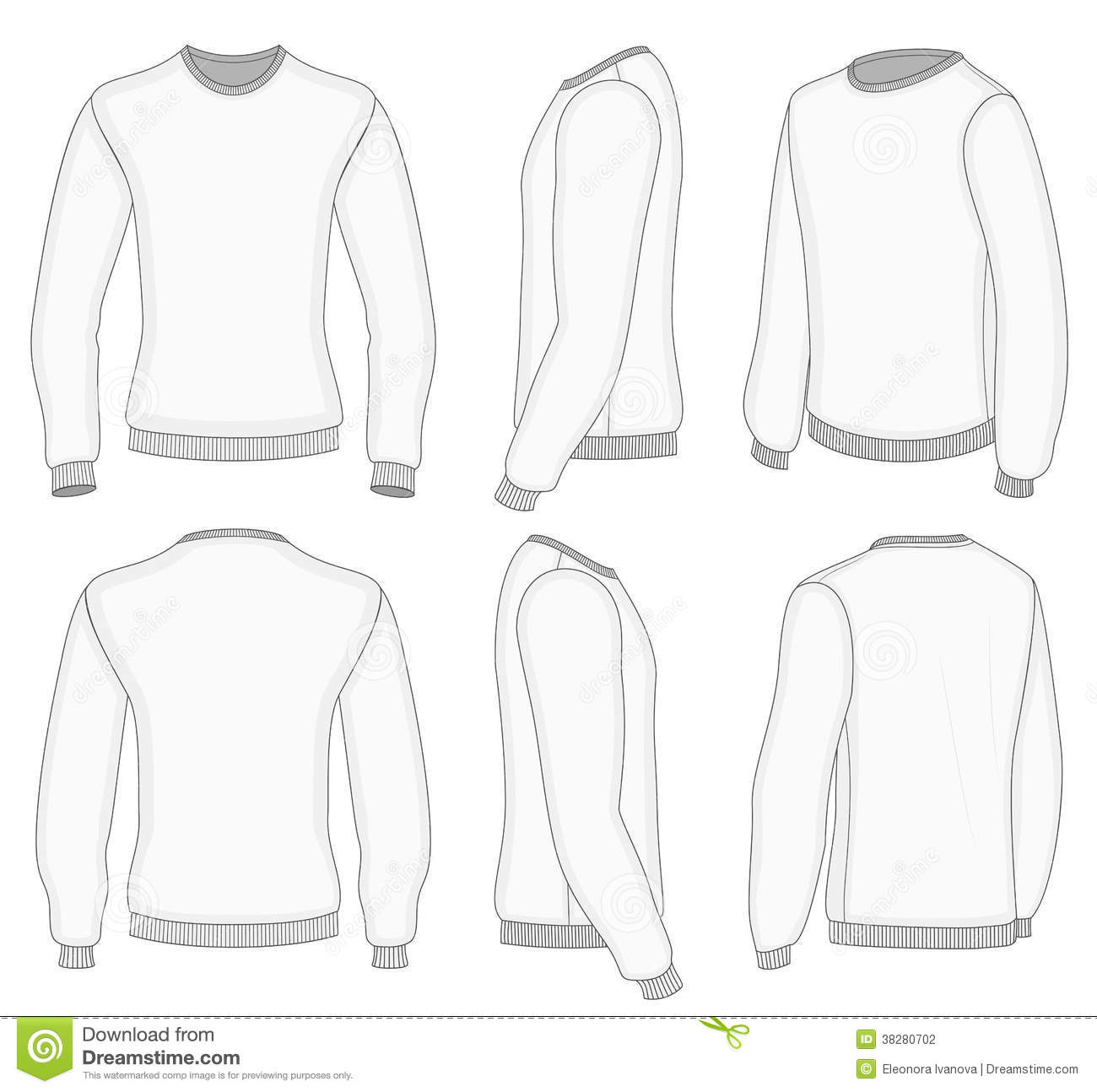 Men's White Long Sleeve T-shirt. Stock Vector