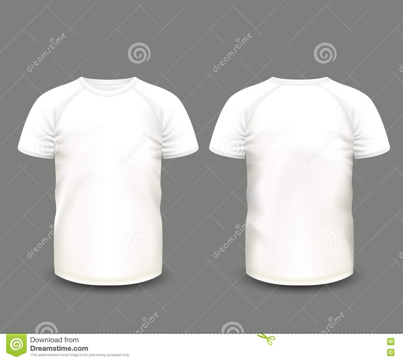 Men39s white raglan t shirt in front and back views vector template fully editable handmade for White t shirt template front and back