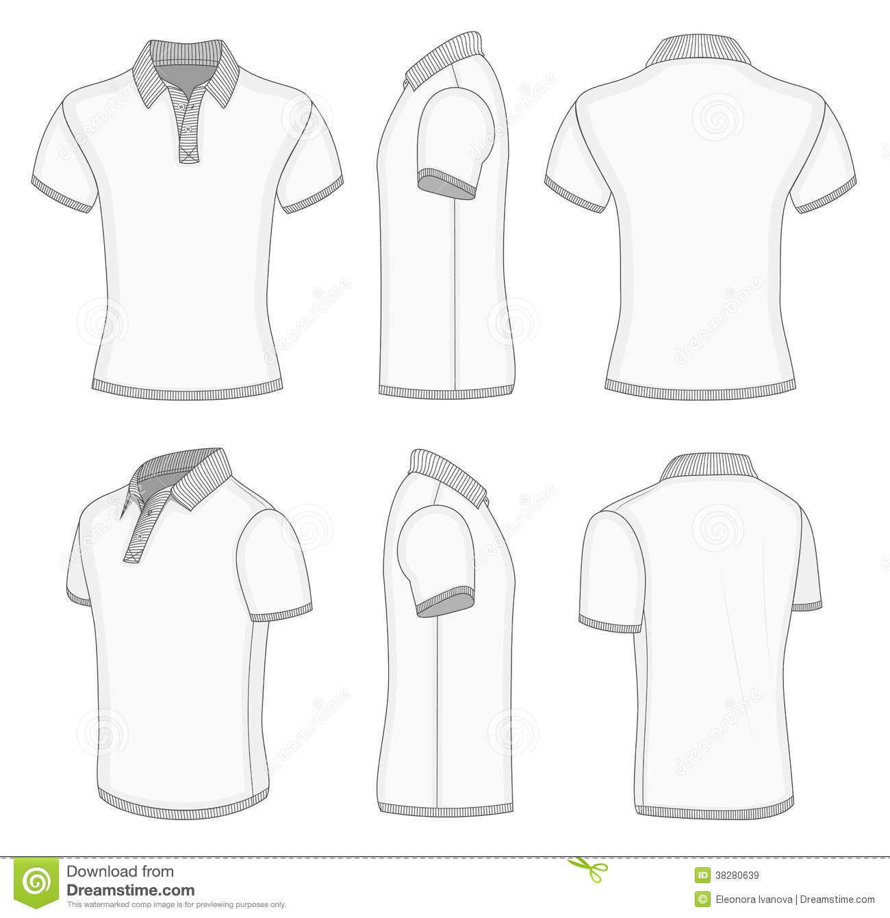 Men 39 S White Short Sleeve Polo Shirt Stock Vector