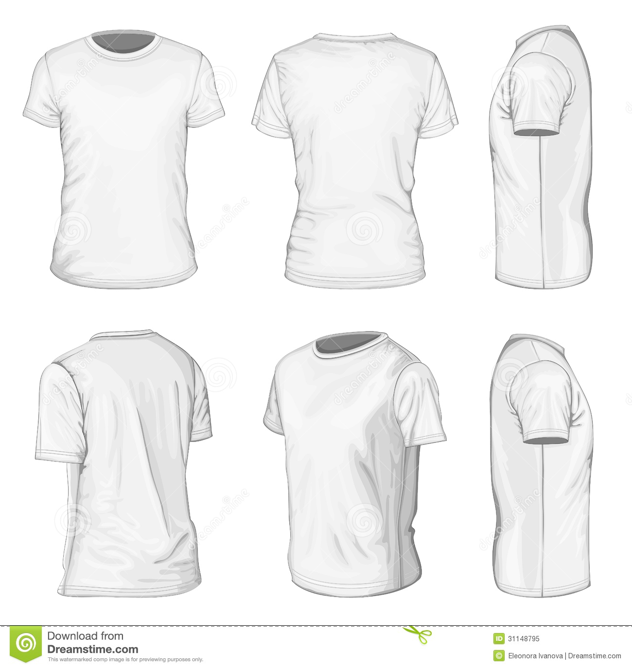 Men s White Short Sleeve T-shirt Design Templates Stock Vector ... f75d31f39