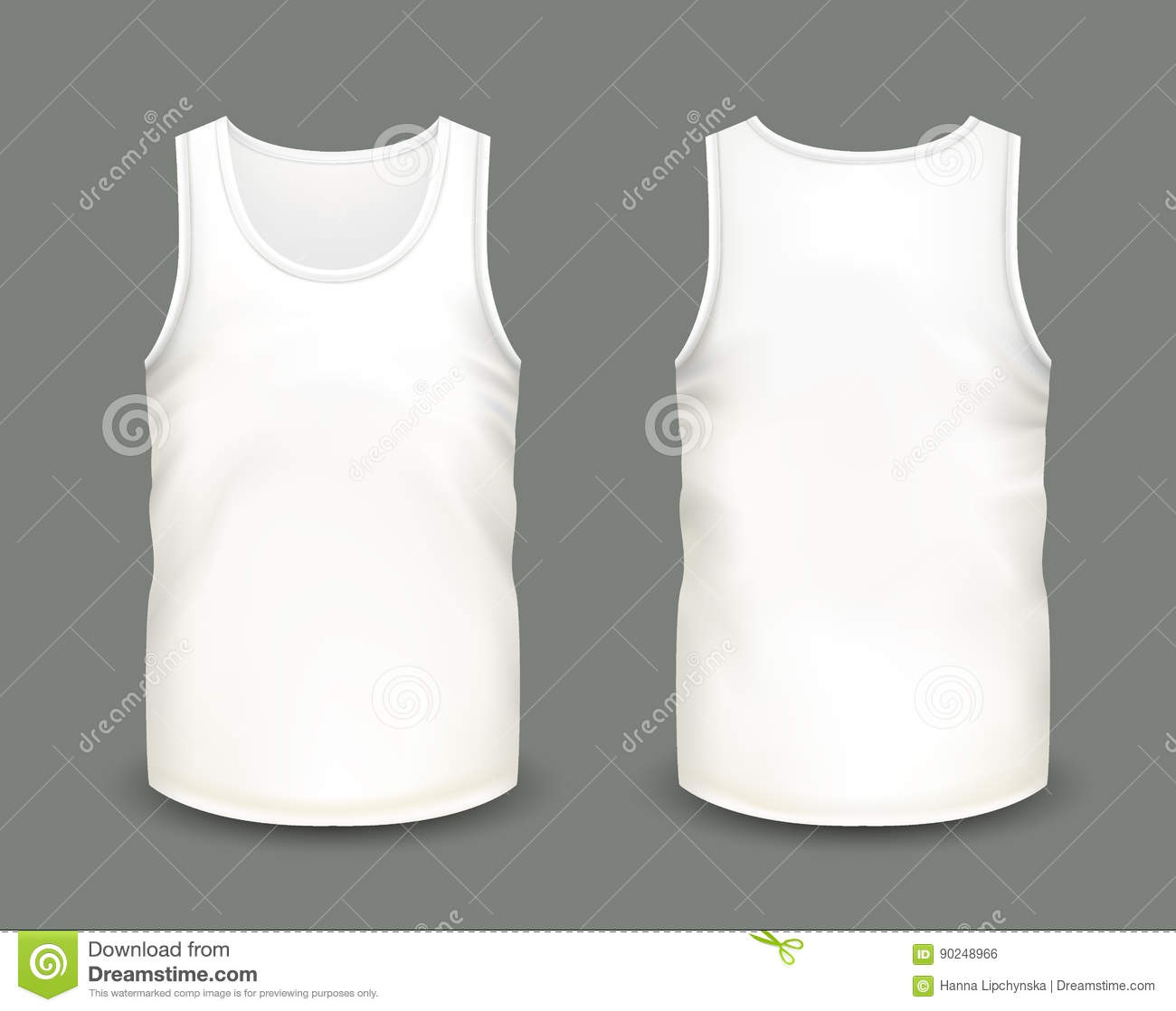 Mens White Sleeveless Tank In Front And Back Views Vector Illustration With Realistic