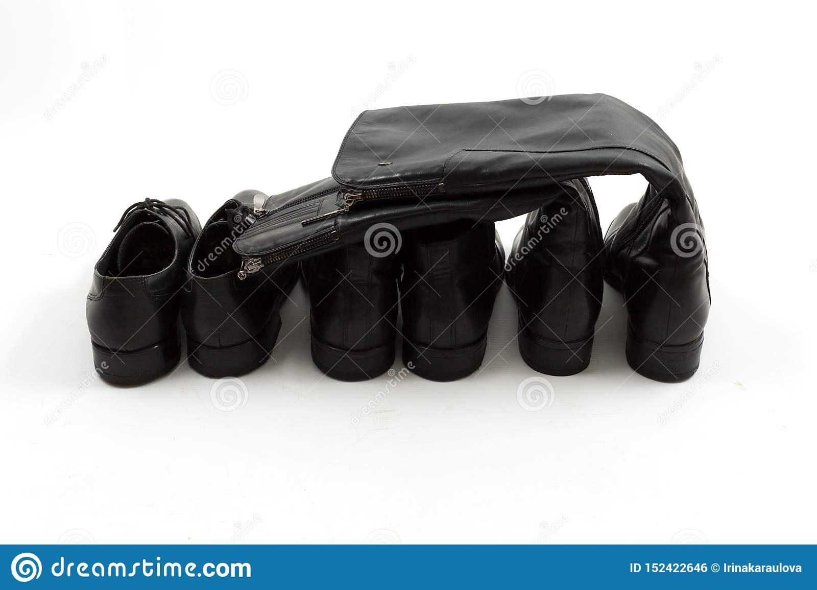 Men`s and women`s black shoes isolated, white background