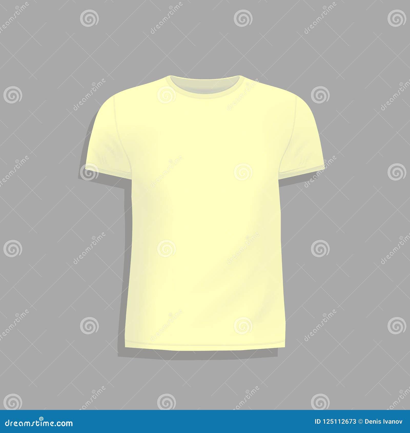 Mens Yellow T Shirt Design Template Mock Up Tshirt For Print Blank White