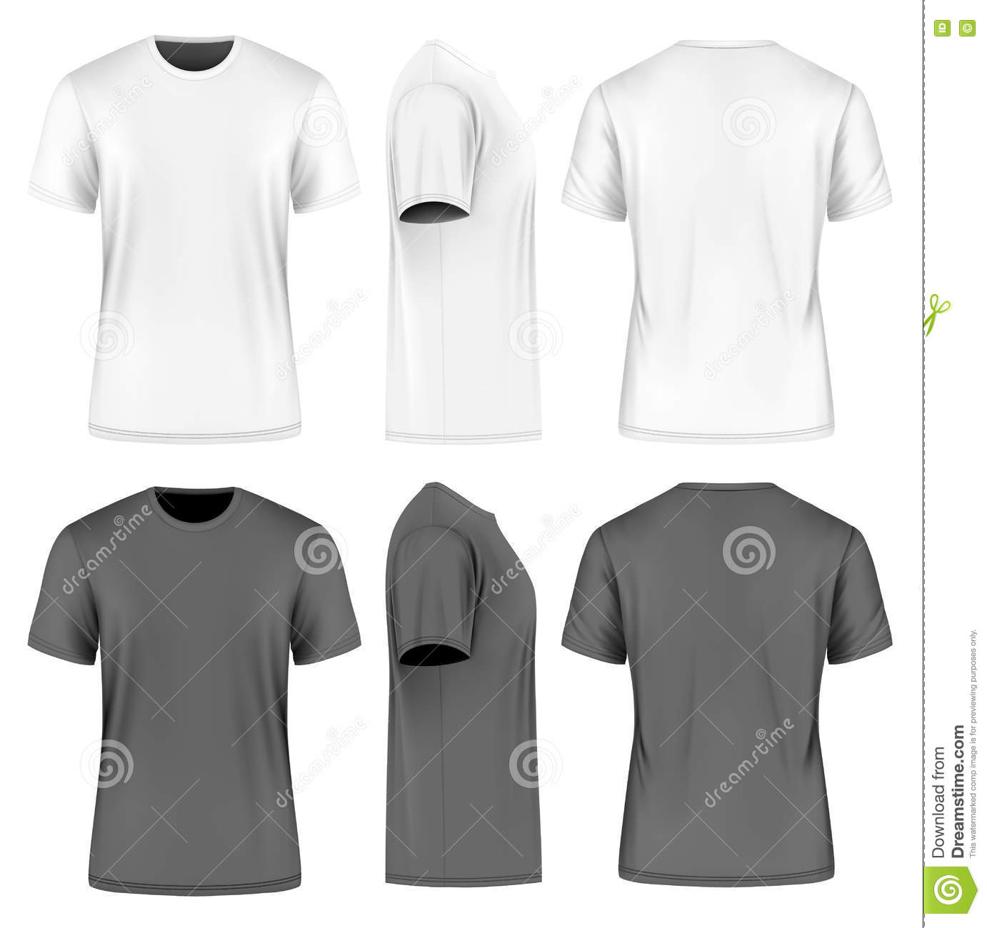 6f72dcd7b793 Men short sleeve round neck t-shirt. Front, side and back views. Vector  illustration. Fully editable handmade mesh. Black and white variants.