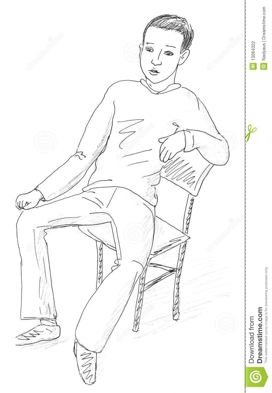 Man sitting in chair drawing - Drawing