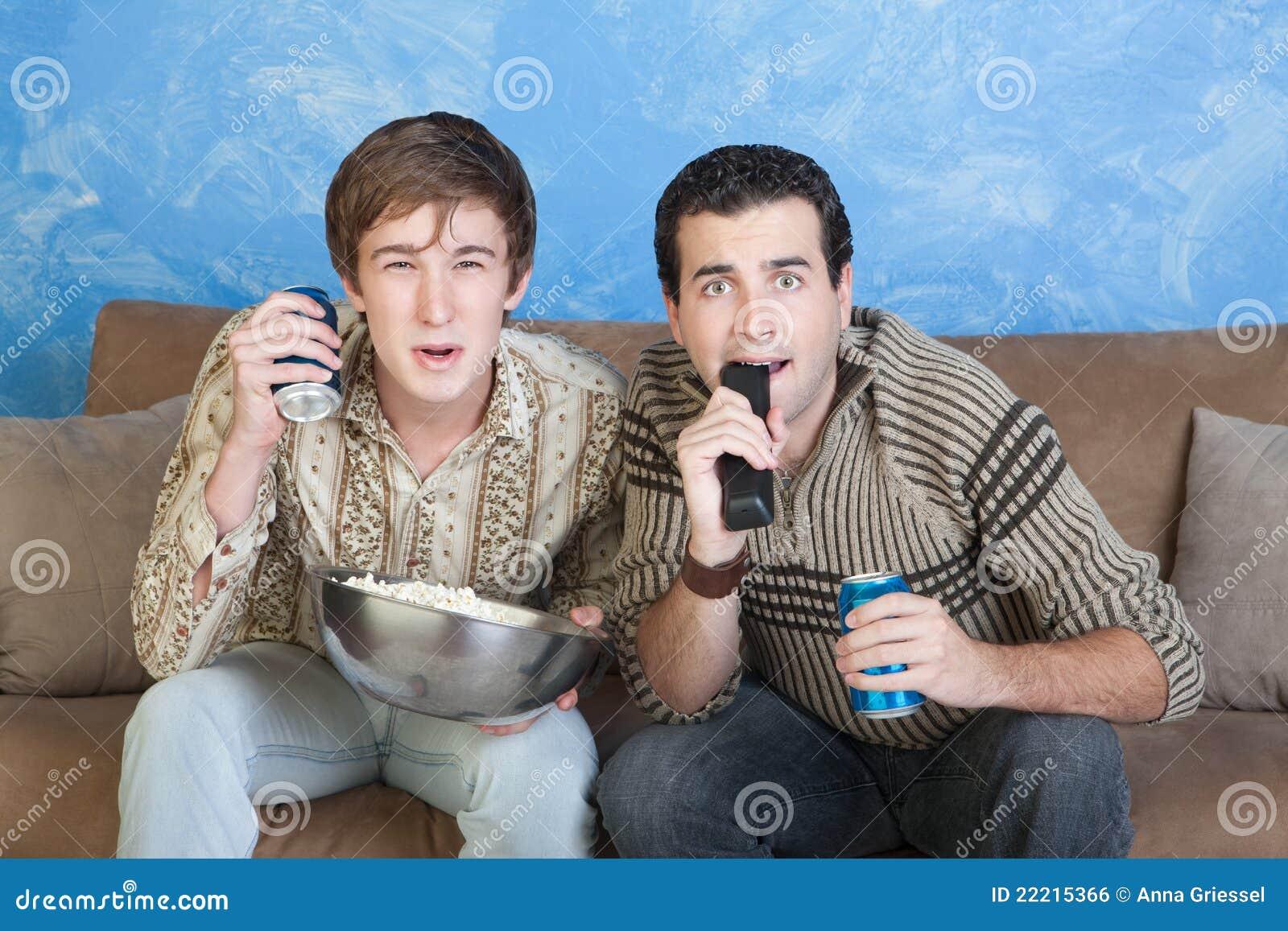 Men On Sofa Edge Royalty Free Stock Image Image 22215366