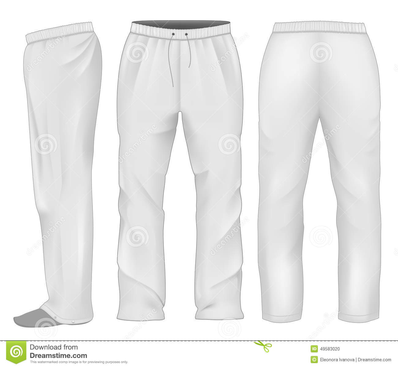 Men Sweatpants White. Stock Vector - Image: 49583020