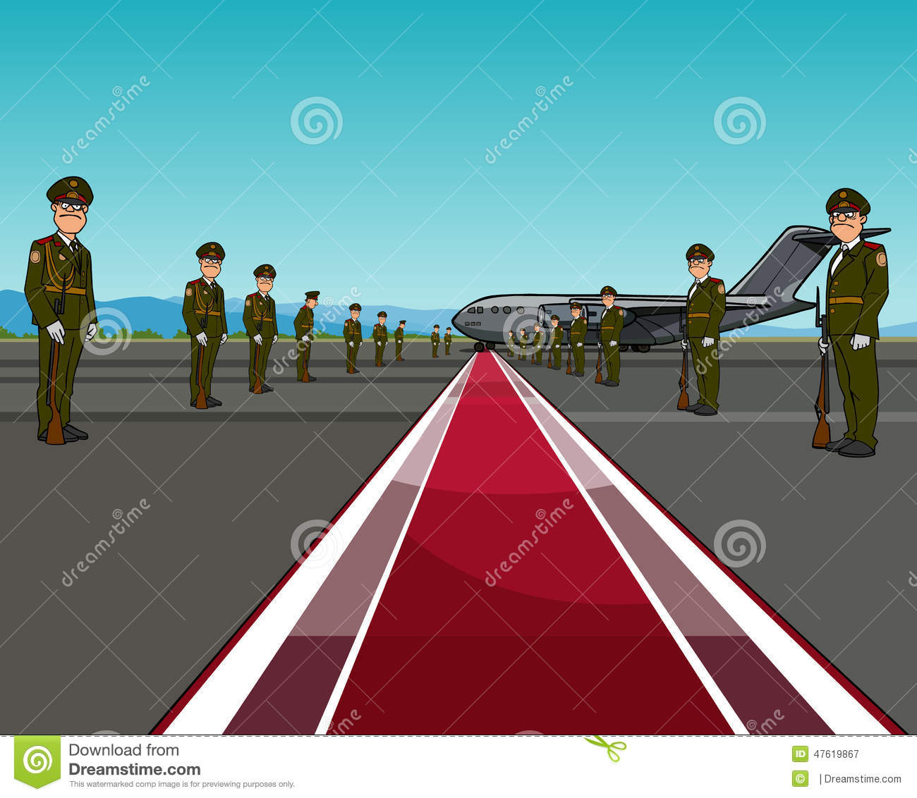 men in uniform standing on opposite sides of the red carpet about aircraft stock vector image. Black Bedroom Furniture Sets. Home Design Ideas