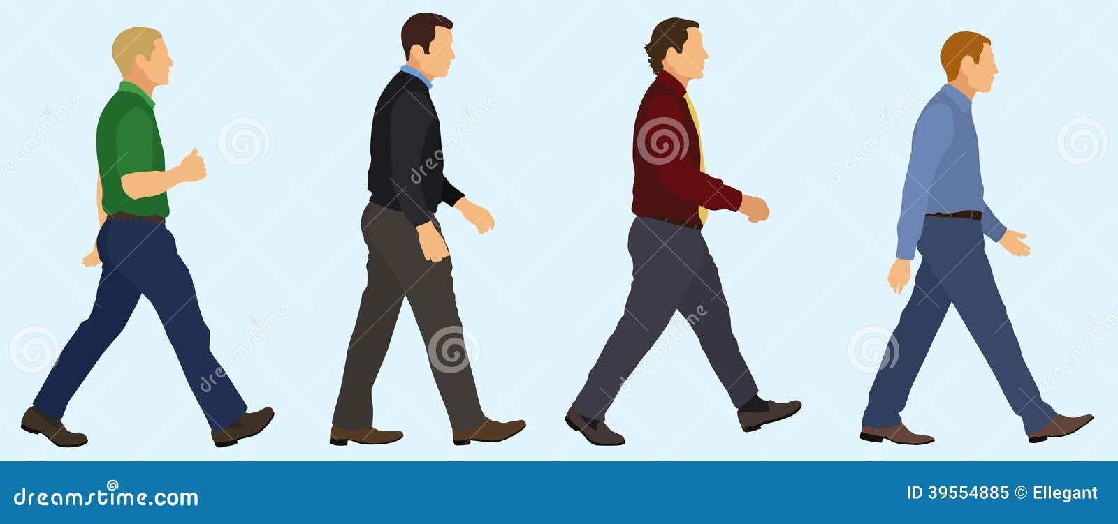 Men Walking in a Line