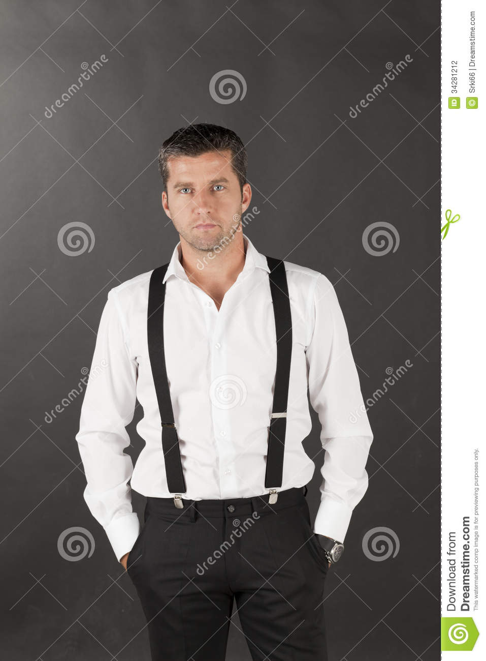Men in white shirts and suspenders stock photo image for Man in white shirt