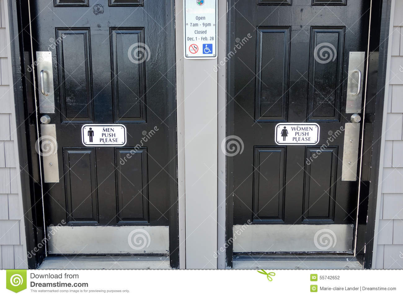 mens and womens bathroom signs. Men Women Black Bathroom Doors With Push Please Sign On Door Mens And Womens Signs