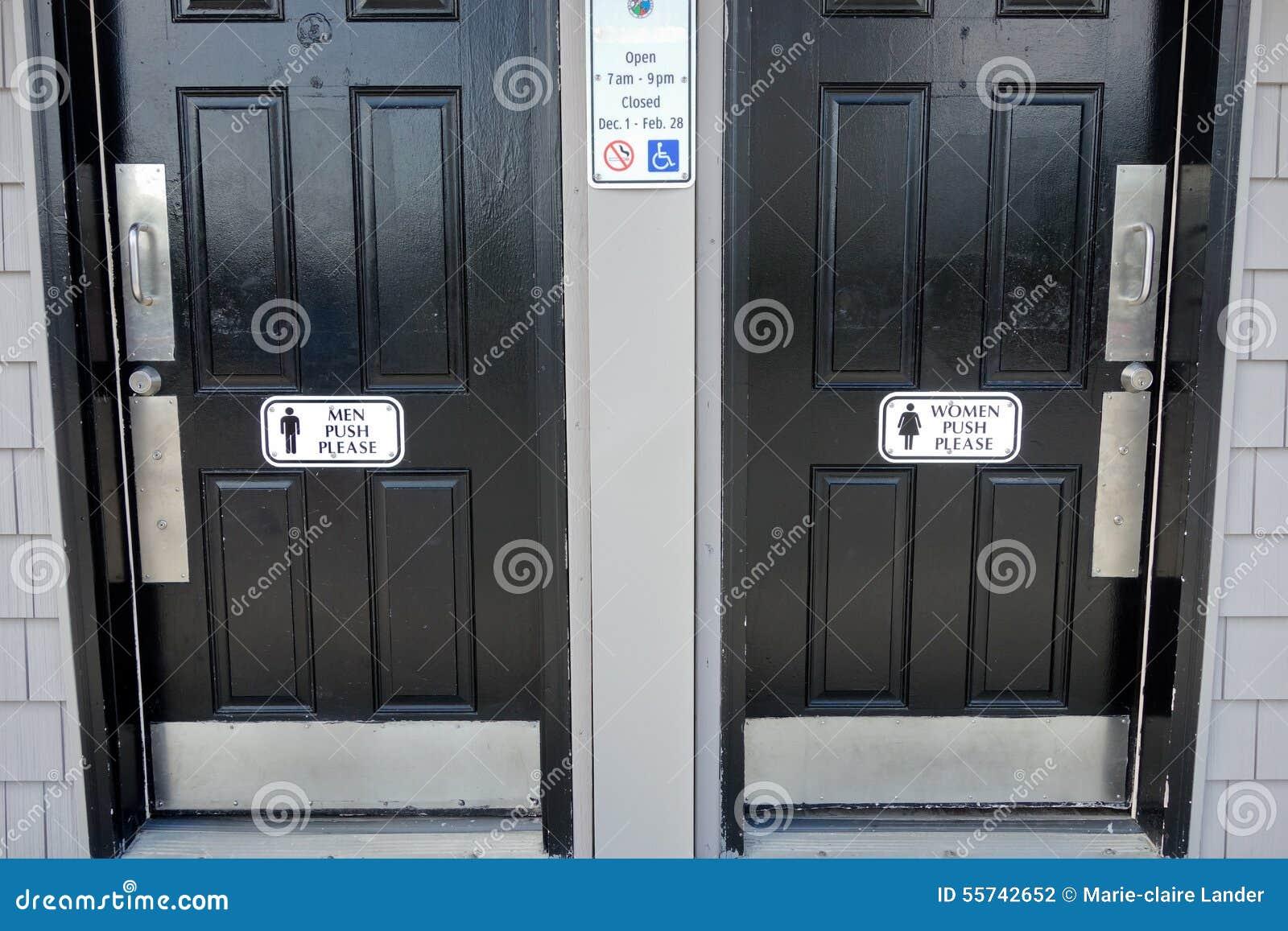 Men Women Black Bathroom Doors With Push Please Sign On Door