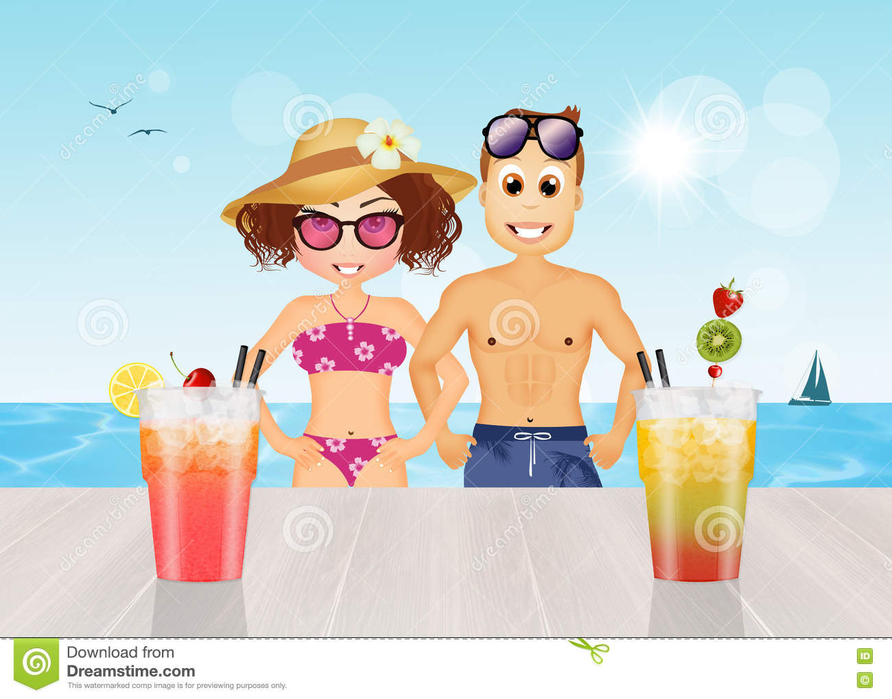 Men And Women Drink Cocktails At The Beach
