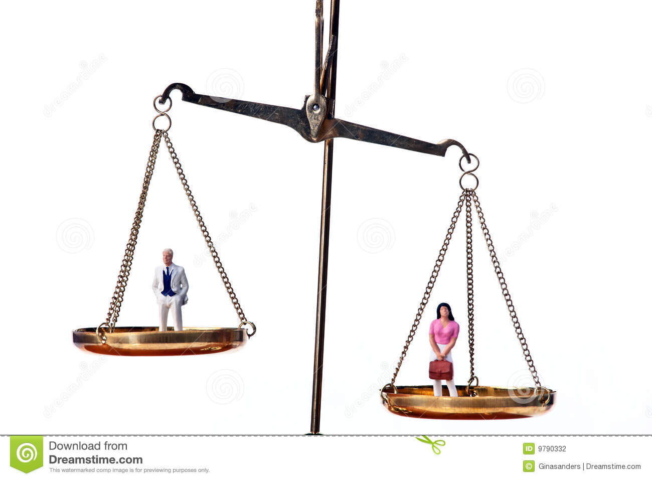 Man and woman on scale. Symbol for equality.