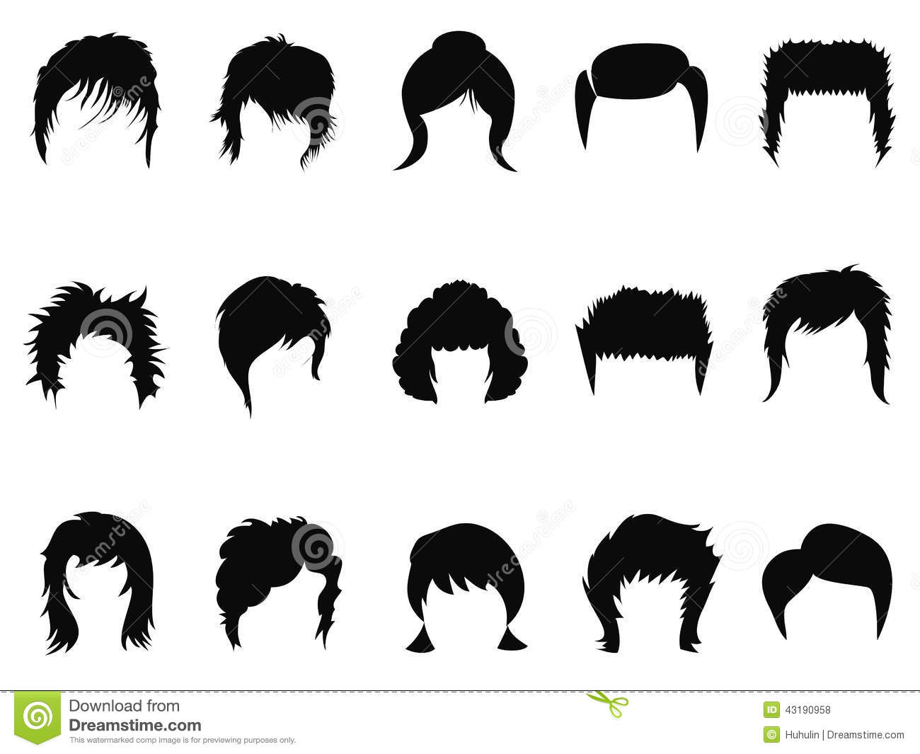 Men And Women Hair Styling Collection Stock Vector