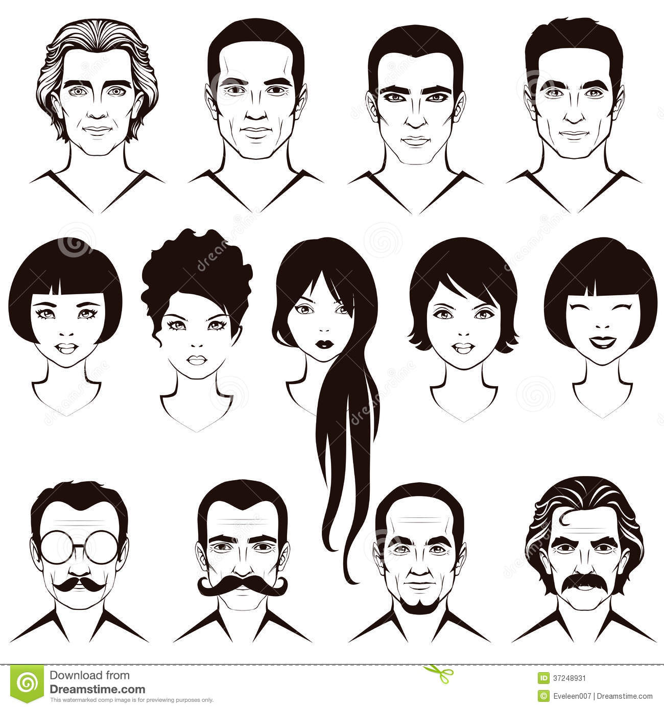Men And Women Head Character Stock Image - Image: 37248931