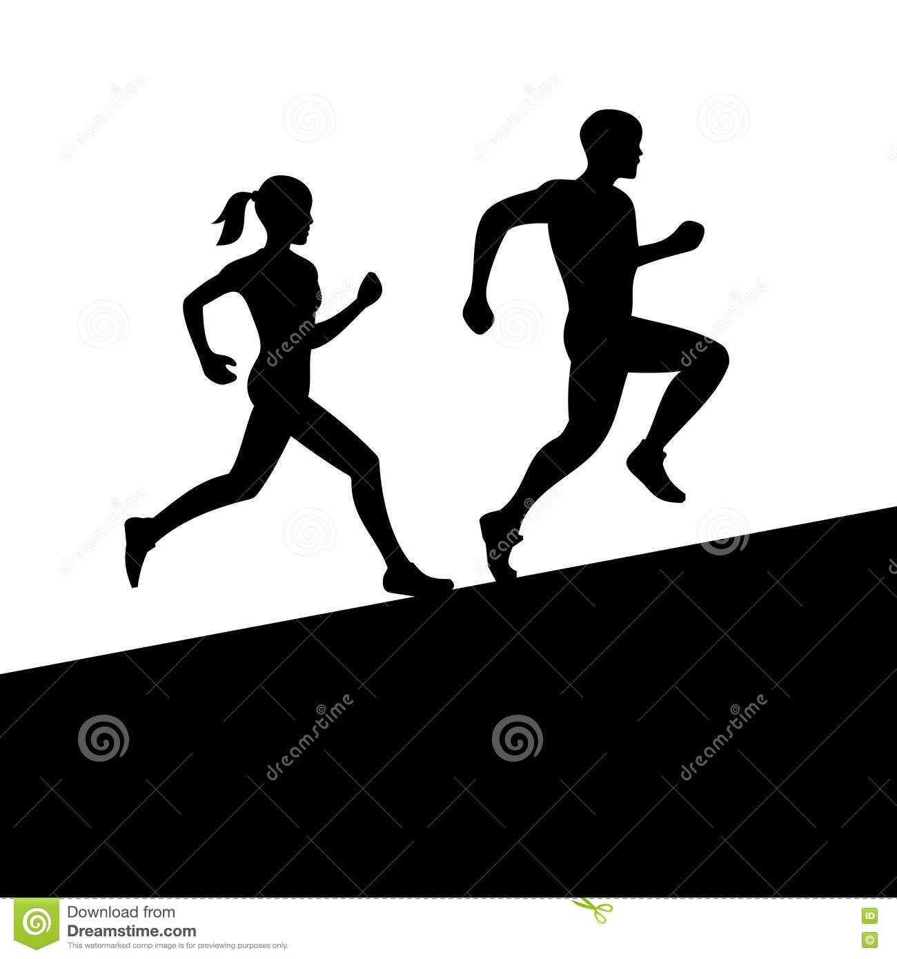 men and women running silhouette vector stock vector