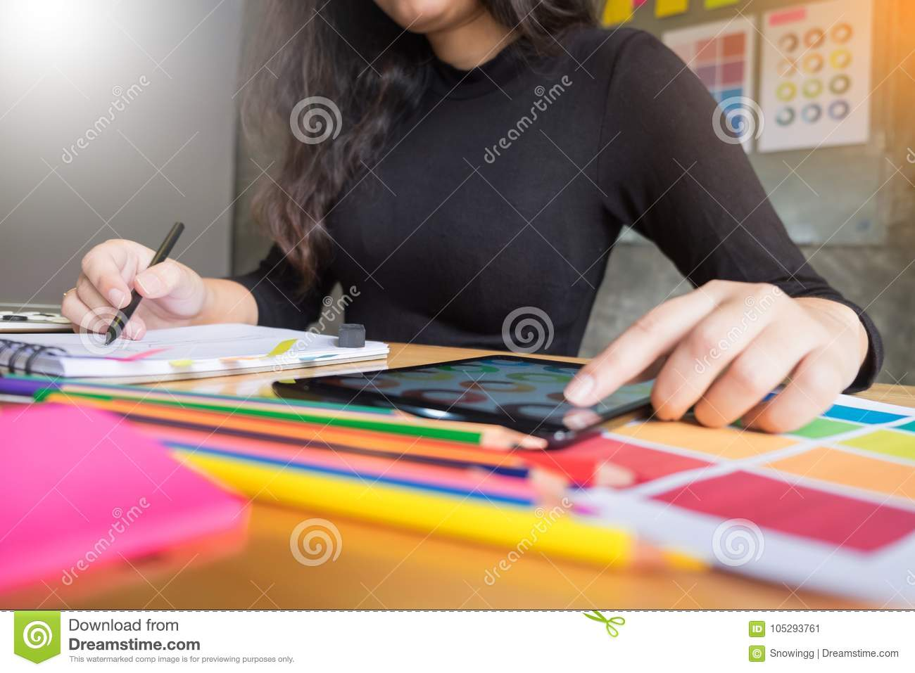 Men Working As Fashion Designer Choosing On Colour Chart For
