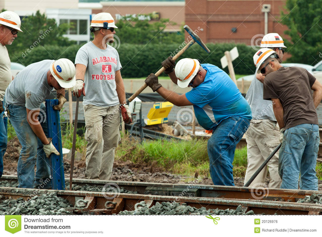 Men Working On Railroad Track Editorial Photo Image