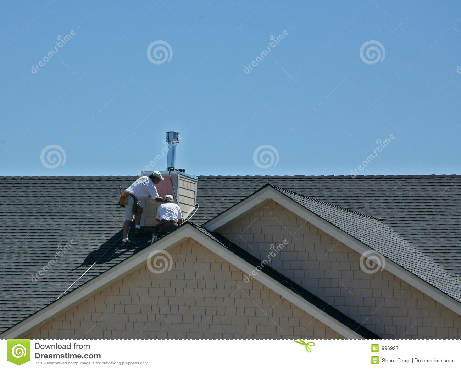 Men Working On Roof Stock Image Image Of Chimney Peaks