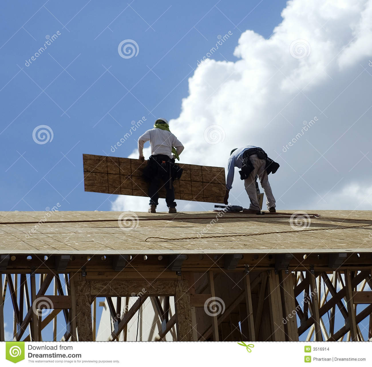 Men Working On Roof Top Stock Images Image 3516914