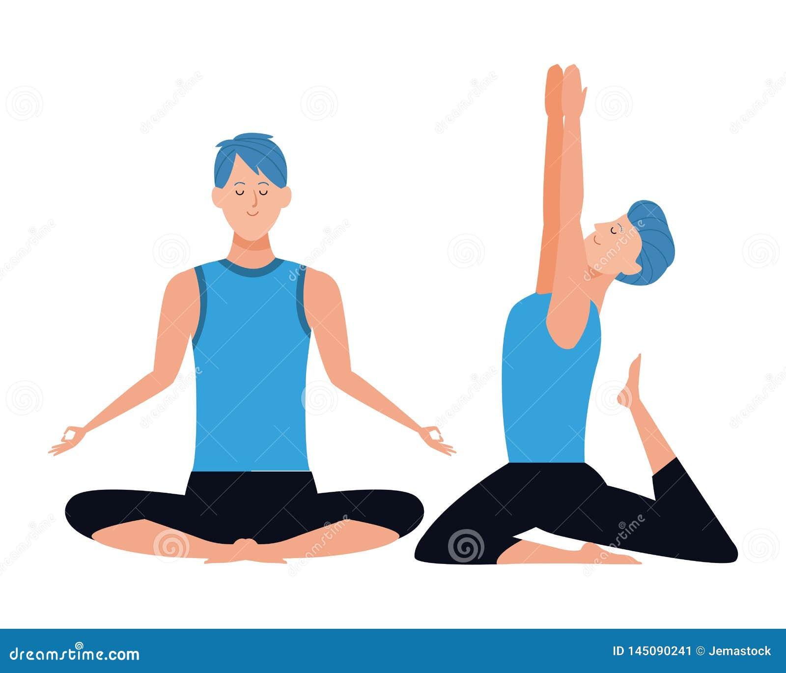 Men Yoga Poses Stock Vector Illustration Of Illustration 145090241