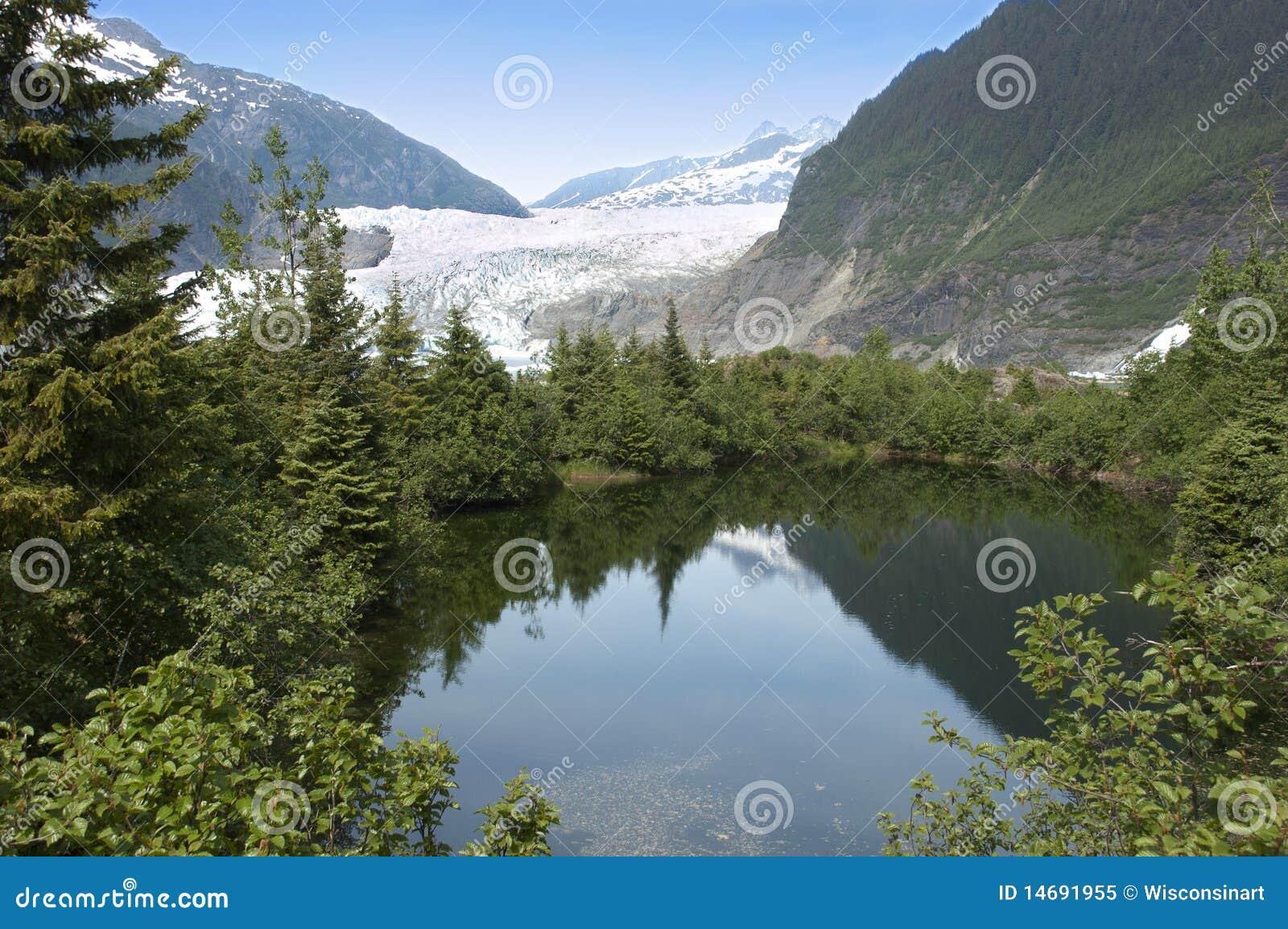 Mendenhall Glacier and Lake Near Juneau Alaska
