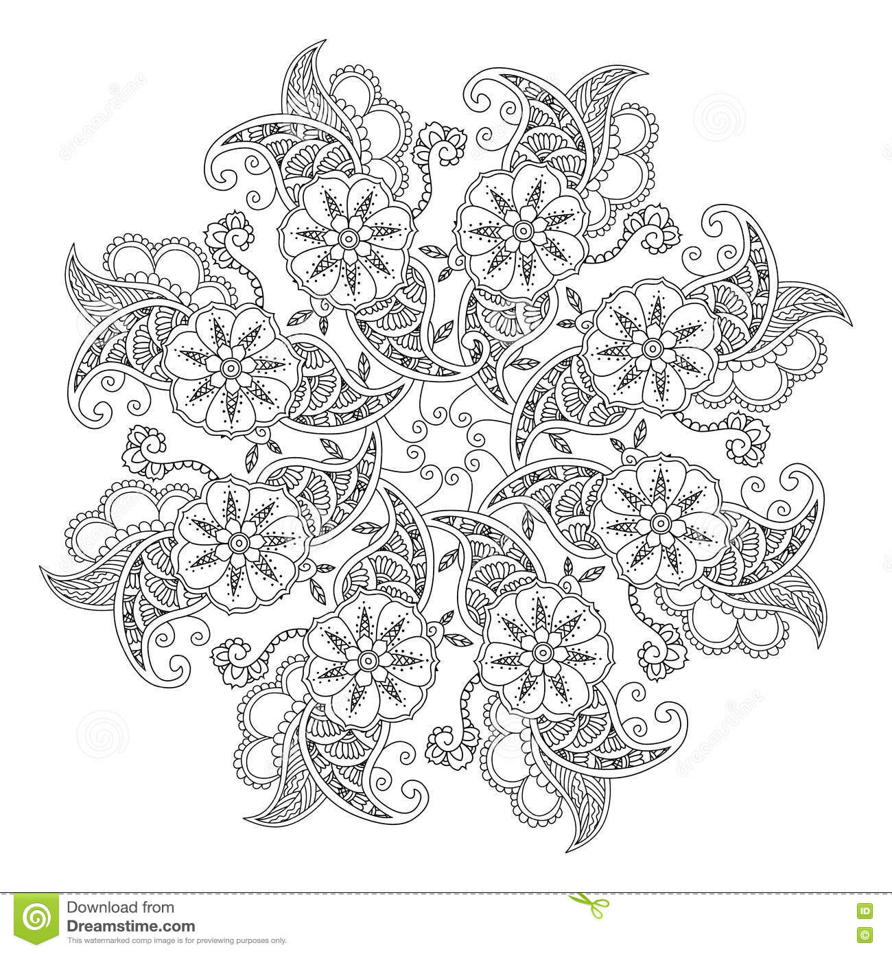 Mendie Mandala With Flowers And Leaves For Coloring Book Stock