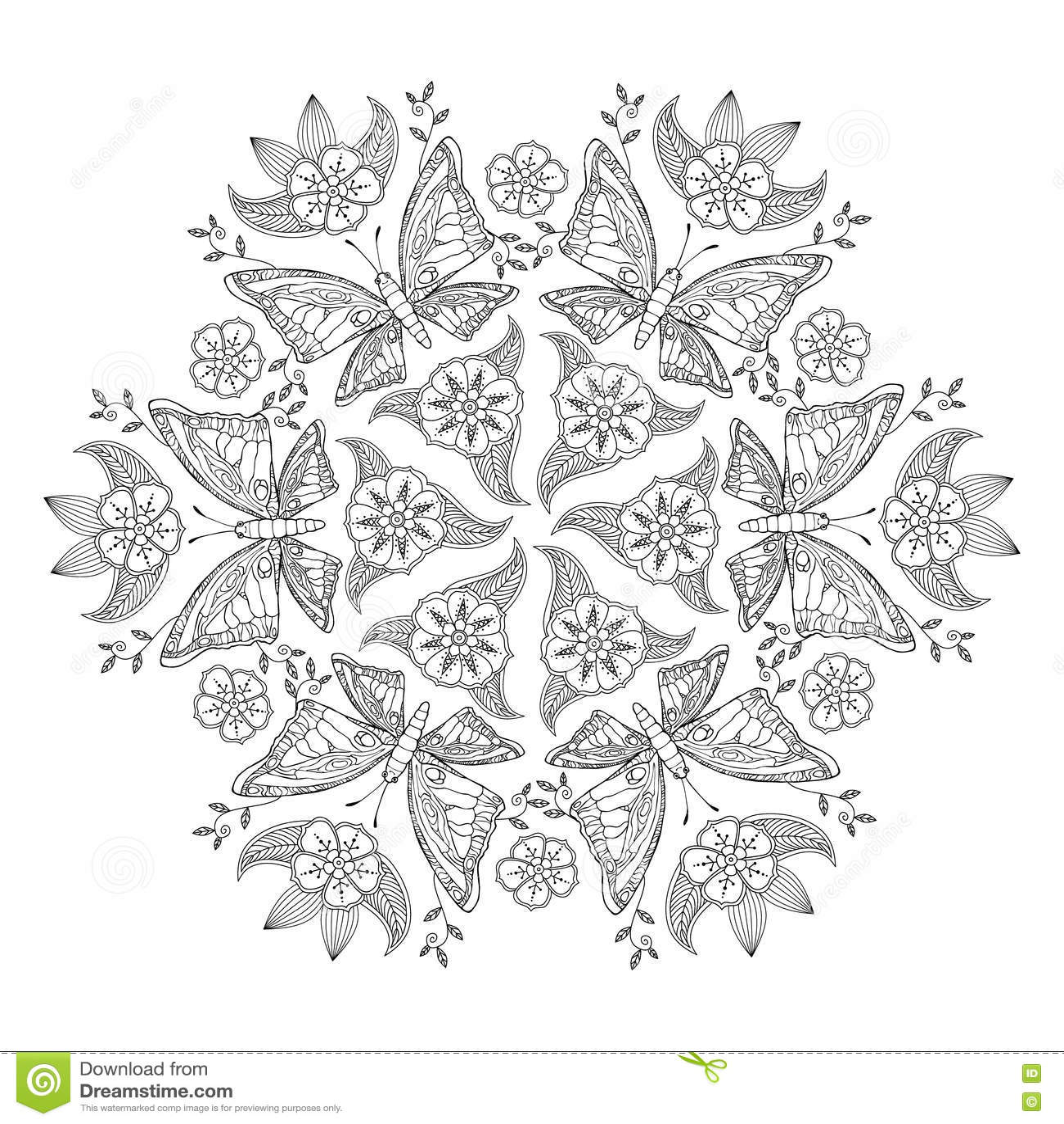 Mendie Mandala Met Vlinders En Bloemen Voor Het Kleuren