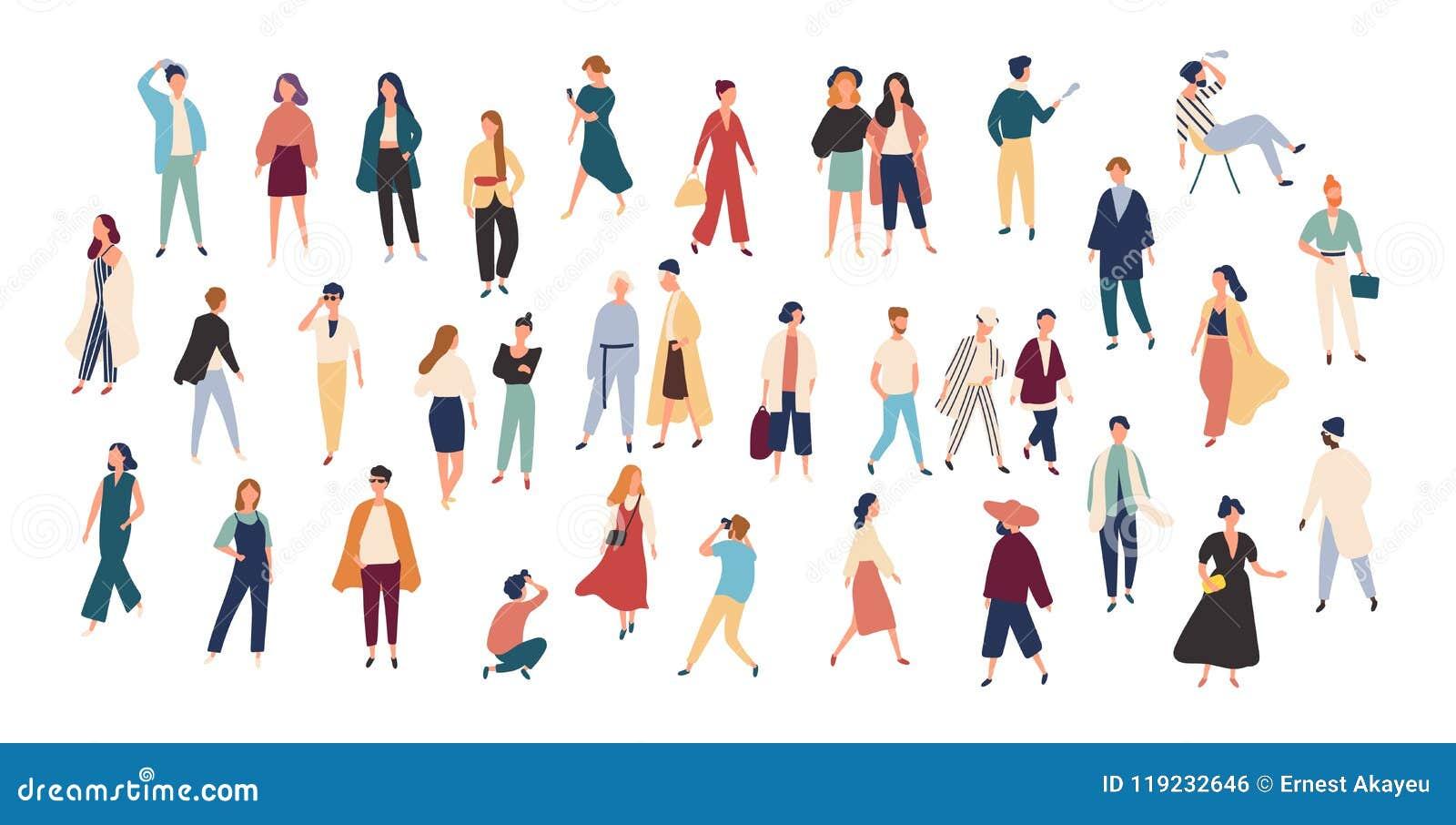 Menigte van uiterst kleine mensen die modieuze kleren dragen Modieuze mannen en vrouwen bij manierweek Groep mannetje en wijfje