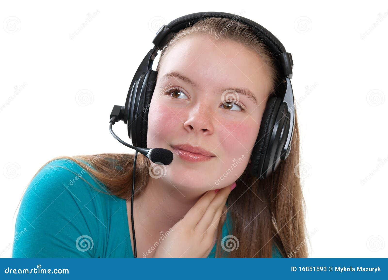 Menina adolescente com microfone