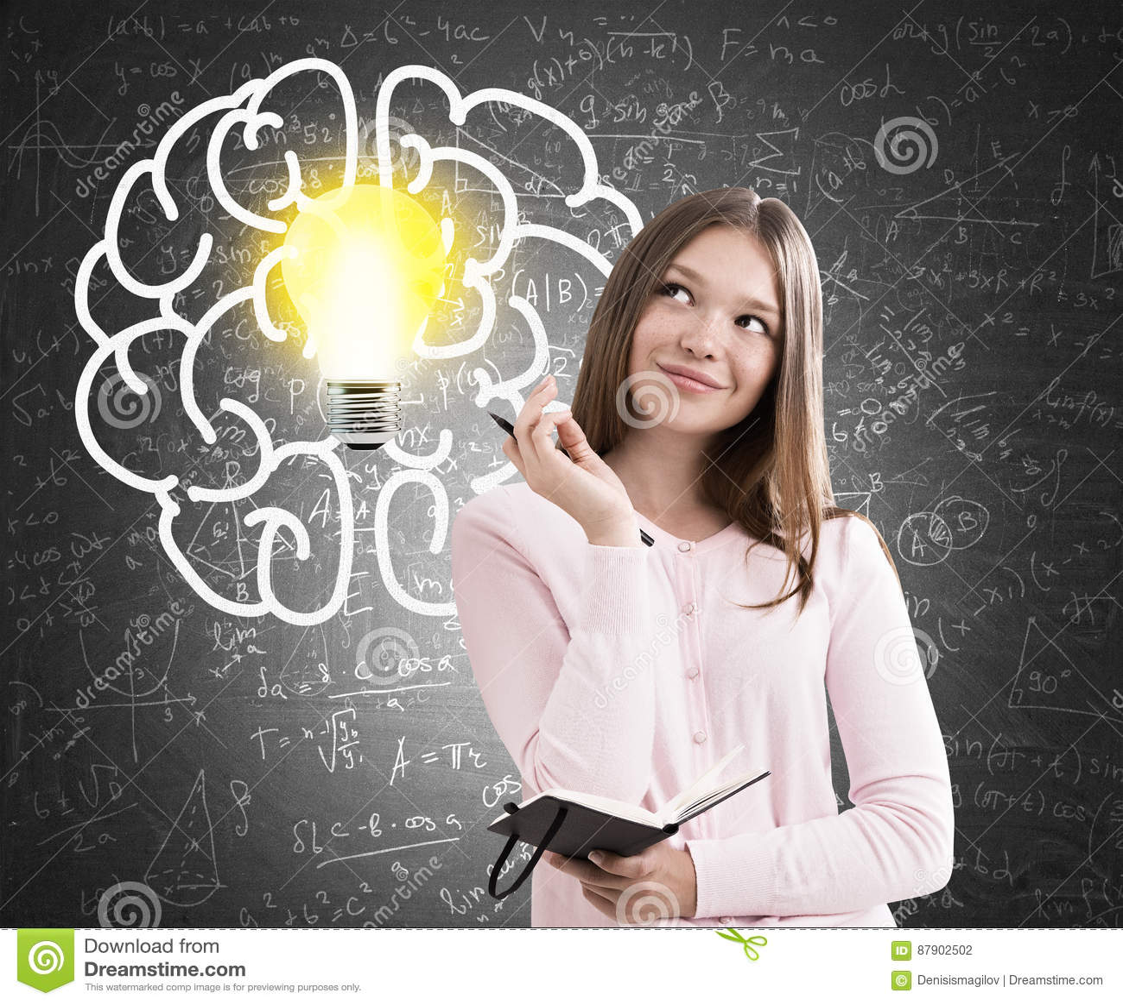 Menina adolescente, grande cérebro e ampola, quadro