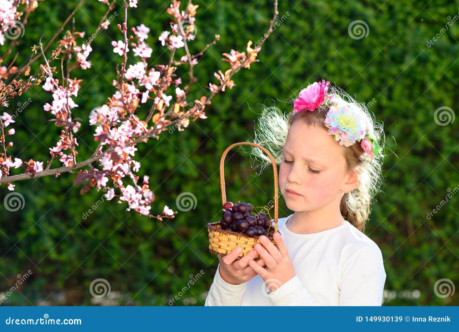 Menina adorável do retrato com a cesta dos frutos exteriores ver?o ou outono Colheita Shavuot