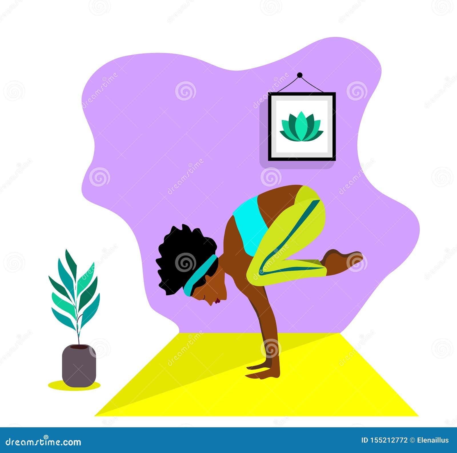 Menina africana magro nova que faz o esporte, ioga, aptidão, ginástica, esticando na sala interior na moda Ilustra??o lisa do vet